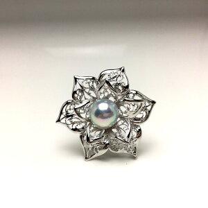 真珠 ブローチ パール アコヤ真珠 9.6mm ホワイトシルバーブルー(ナチュラル) シルバー 植物 フラワー 66666 イソワパール