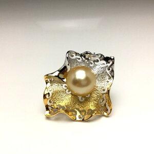 真珠 ブローチ パール 白蝶真珠 13.5mm ゴールド(ナチュラル) シルバー 66731 イソワパール