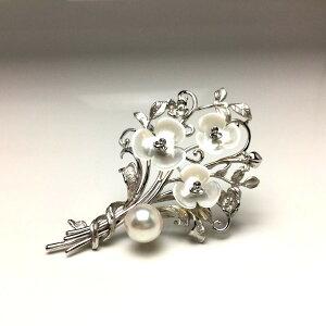 真珠 ブローチ パール アコヤ真珠 9.4mm ホワイトピンク シルバー シェル フラワー 植物 67091 イソワパール