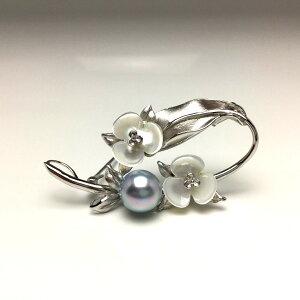 真珠 ブローチ パール アコヤ真珠 9.0-9.5mm シルバーブルー シルバー シェル 植物 シルバー 67095 イソワパール