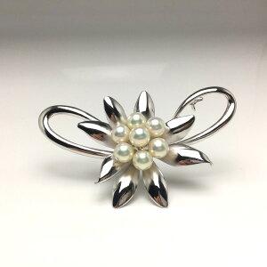 真珠 ブローチ パール アコヤ真珠 6.5-7.0mm ホワイトピンク シルバー 植物 フラワー 67108 イソワパール