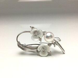 真珠 ブローチ パール アコヤ真珠 9.17mm ホワイトピンク シルバー シェル 植物 フラワー 67110 イソワパール