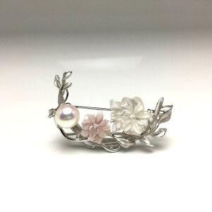 真珠 ブローチ パール アコヤ真珠 8.9mm ホワイトピンク シルバー シェル 植物 シルバー 67211 イソワパール