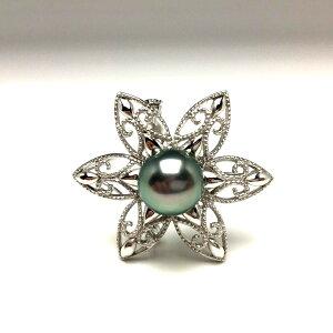 真珠 ブローチ パール 黒蝶真珠 10.55mm ミドルグリーン シルバー 植物 フラワー 67232 イソワパール