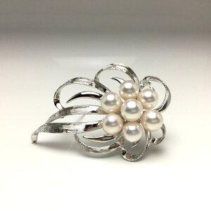 真珠 ブローチ パール アコヤ真珠 7.5-8.0mm ホワイトピンク シルバー 植物 フラワー 67247 イソワパール