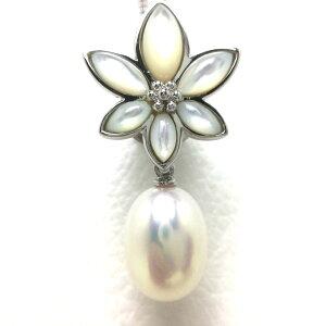 真珠 タイニーピン パール 淡水真珠 9.2×11.7mm ホワイト シルバー シェル 67261 イソワパール