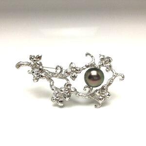 真珠 ブローチ パール 黒蝶真珠 10.35mm ピーコックグリーン シルバー 植物 67263 イソワパール