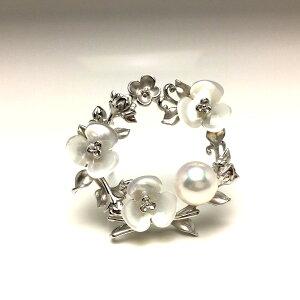 真珠 ブローチ パール アコヤ真珠 9.5mm ホワイトピンク シルバー シェル 植物 67397 イソワパール
