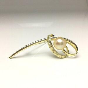 真珠 ブローチ パール 白蝶真珠 12.3mm ライトゴールド(ナチュラル) シルバー 67721 イソワパール