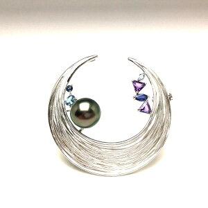真珠 ブローチ パール 黒蝶真珠 10.1mm ピーコックグリーン シルバー 天然石 ムーン 67865 イソワパール
