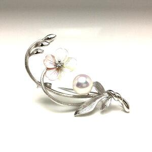 真珠 ブローチ パール アコヤ真珠 9,5mm ホワイトピンク シルバー シェル 植物 フラワー 67940 イソワパール