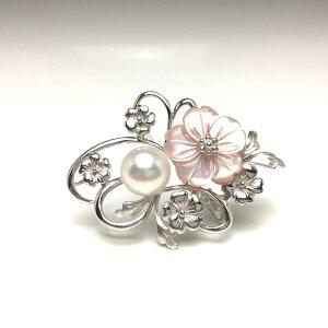 真珠 ブローチ パール アコヤ真珠 9.5mm ホワイトピンク シルバー シェル 植物 フラワー 67989 イソワパール