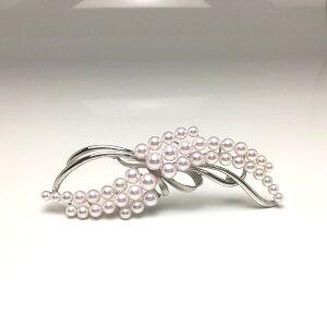 真珠 ブローチ パール アコヤ真珠 4.0-6.8mm ホワイトピンク シルバー 植物 フラワー 68062 イソワパール