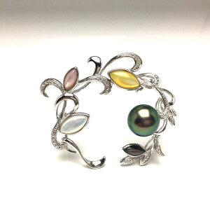 真珠 ブローチ パール 黒蝶真珠 10.65mm ピーコックグリーン シルバー シェル 植物 68101 イソワパール