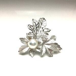 真珠 ブローチ パール 白蝶真珠 12.0mm ホワイト系ホワイトピンク シルバー 植物 フラワー 68133 イソワパール
