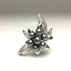 真珠 ブローチ パール 黒蝶真珠 9.0-10.5mm ミドルグリーン シルバー フラワー 植物 68158 イソワパール