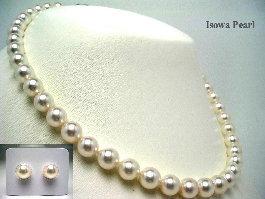 花珠 オーロラ・花珠 グッドクオリティ 8.5-9mm ホワイト系 アコヤ真珠 ネックレス ・ 8.5-9mm ルース セット