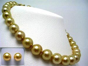 真珠 ネックレス パール オーロラ・ムーンレインボー 白蝶真珠 イヤリング or ピアス セット 12.0-14.4mm ゴールド(ナチュラル) K18YG クラスップ ダイヤ 0.03ct 65125 イソワパール
