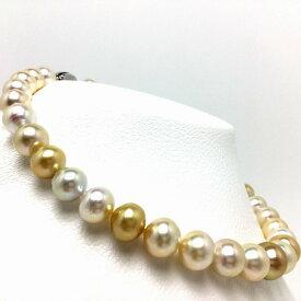 真珠 ネックレス パール ナチュラルカラー 白蝶真珠 11.4-14.1mm マルチカラー シルバー クラスップ 66688 イソワパール