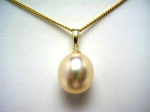 真珠 ペンダントトップ パール 淡水真珠 10.57×12.19mm メタリックホワイトオレンジ K18 イエローゴールド 53725 イソワパール