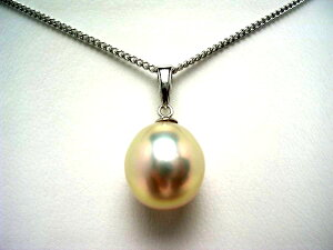 真珠 ペンダントトップ パール 淡水真珠 10.21×11.92mm メタリックホワイトオレンジ K18 ホワイトゴールド 56749 イソワパール