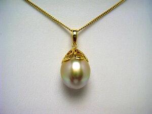 真珠 ペンダントトップ パール 白蝶真珠 12.55mm ライトゴールド(ナチュラル) シルバー 62840 イソワパール