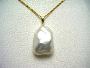 真珠 ペンダントトップ パール 淡水真珠 16.4×22.1mm ホワイトピンク K18 イエローゴールド 64668 イソワパール