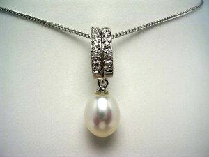 真珠 ペンダントトップ パール 淡水真珠 8.5-9.5mm ホワイト シルバー ジルコン 50941 イソワパール
