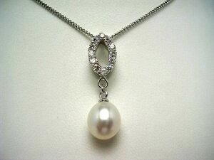 真珠 ペンダントトップ パール 淡水真珠 8.5-9.5mm ホワイト シルバー ジルコン 52000 イソワパール