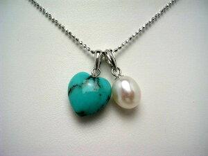 真珠 ペンダント パール 淡水真珠 7.5-8×9-10mm ホワイト シルバー ターコイズ (トルコ石) ハート 55525 イソワパール