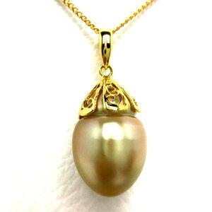 真珠 ペンダントトップ パール 白蝶真珠 13.65mm ゴールド(ナチュラル) シルバー 65736 イソワパール
