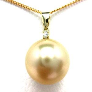 真珠 ペンダントトップ パール 白蝶真珠 14.0mm ゴールド(ナチュラル) K18 イエローゴールド ダイヤモンド 0.03ct 67176 イソワパール