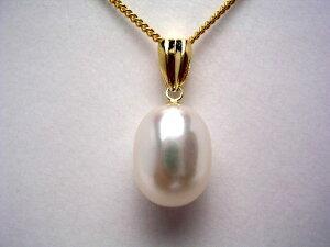 真珠 ペンダントトップ パール 淡水真珠 8-9×11-12mm ホワイト K18 イエローゴールド 9235 イソワパール