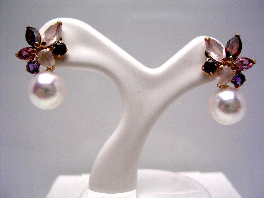 アコヤ真珠 スタッド ピアス 7.0-7.5mm ホワイトピンク K18 イエローゴールド 天然石 40156 イソワパール