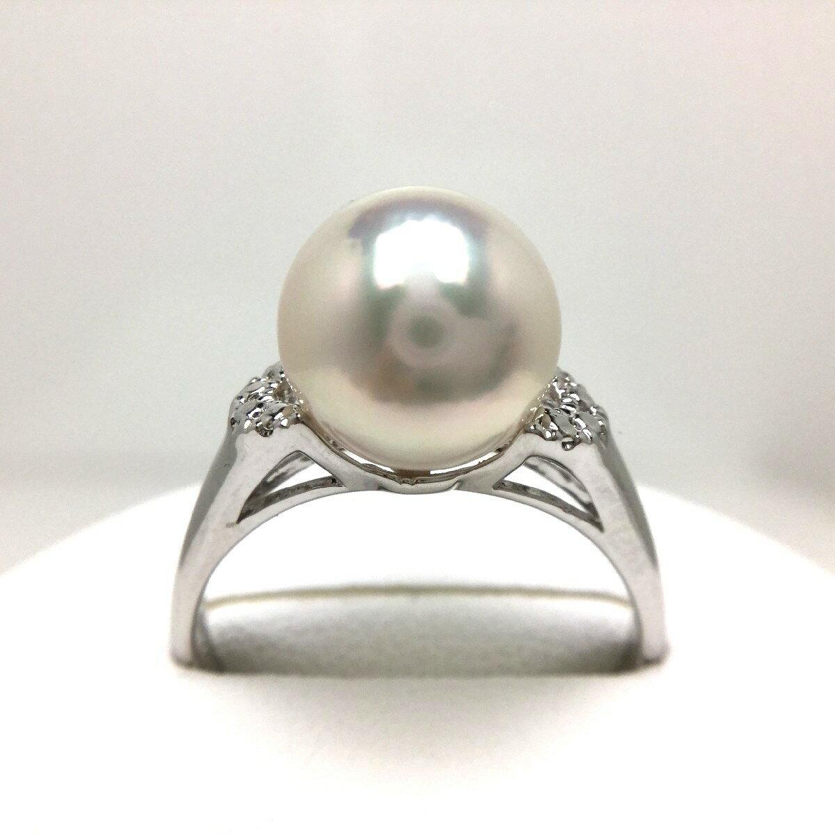 真珠 リング パール 母の日 アコヤ真珠 9.0-9.5mm ホワイトピンク シルバー 46323 イソワパール