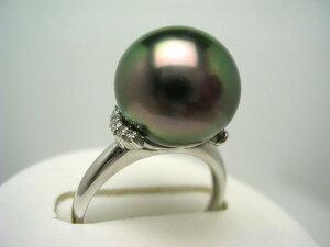真珠 リング パール BlackLip花珠 黒蝶真珠 12.3mm ピーコックグリーン Pt900 プラチナ ダイヤ 0.1ct 59843 イソワパール