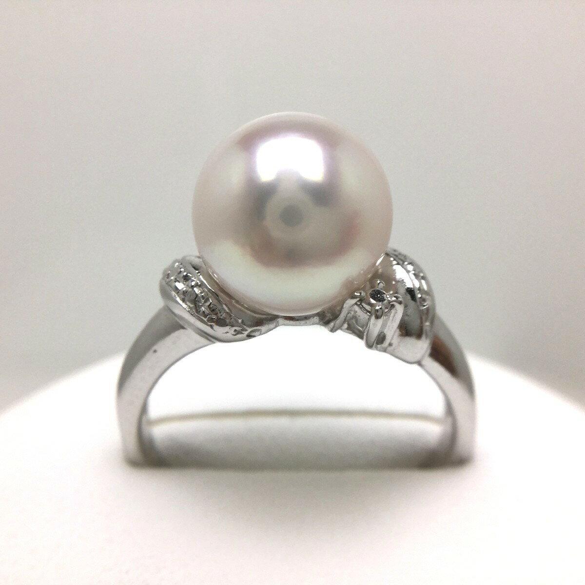 真珠 リング パール 母の日 アコヤ真珠 9.0-9.5mm ホワイトピンク シルバー 64815 イソワパール