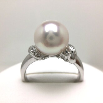 Pearl ring pearl pearl oyster pearl 9.0-9.5mm white pink silver 64815 イソワパール