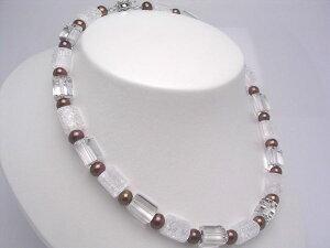 真珠 ネックレス パール 淡水真珠 6.5-7.5mm ブラウン シルバー クラスップ 水晶(クォーツ) 20879 イソワパール