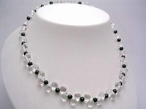 真珠 ネックレス パール 淡水真珠 4.5-5mm グリーン シルバー アジャスター 水晶(クォーツ) 35844 イソワパール