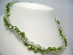 真珠 ネックレス パール 淡水真珠 6.0-7.0mm ライトグリーン シルバー アジャスター 水晶(クォーツ) 47968 イソワパール