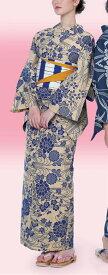 浴衣(ゆかたyukata) 源氏物語浴衣(ゆかた) みゆき紬 手縫い仕立て付き 20086 綿100% (染色方法・注染) (仕立て無しの反物のみも可) [送料無料]