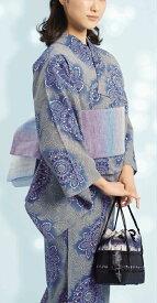 浴衣(ゆかたyukata) 源氏物語浴衣(ゆかた) 麻と綿の布 手縫い仕立て付き 19008 麻30%・綿70% (染色方法・注染) (仕立て無しの反物のみも可) [送料無料]