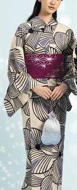 浴衣(ゆかたyukata) 源氏物語浴衣(ゆかた) 麻と綿の布 手縫い仕立て付き 19007 麻30%・綿70% (染色方法・注染) (仕立て無しの反物のみも可) [送料無料]