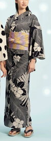 浴衣(ゆかたyukata) 源氏物語浴衣(ゆかた) 麻と綿の布 手縫い仕立て付き 19012 麻30%・綿70% (染色方法・注染) (仕立て無しの反物のみも可) [送料無料]