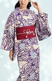 浴衣(ゆかたyukata) 源氏物語浴衣(ゆかた) 麻と綿の布 手縫い仕立て付き 19014 麻30%・綿70% (染色方法・注染) (仕立て無しの反物のみも可) [送料無料]