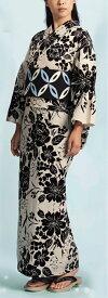 浴衣(ゆかたyukata) 源氏物語浴衣(ゆかた) 麻と綿の布 手縫い仕立て付き 19010 麻30%・綿70% (染色方法・注染) (仕立て無しの反物のみも可) [送料無料]