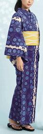 浴衣(ゆかたyukata) 源氏物語浴衣(ゆかた) 麻と綿の布 手縫い仕立て付き 19003 麻30%・綿70% (染色方法・スクリーン染め) (仕立て無しの反物のみも可) [送料無料]