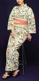 浴衣(ゆかたyukata) 源氏物語浴衣(ゆかた) 紅型調 手縫い仕立て付き 19016 麻30%・綿70% (染色方法・注染) (仕立て無しの反物のみも可) [送料無料]