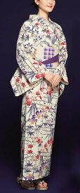 浴衣(ゆかたyukata) 源氏物語浴衣(ゆかた) 紅型調 手縫い仕立て付き 19017 麻30%・綿70% (染色方法・注染) (仕立て無しの反物のみも可) [送料無料]